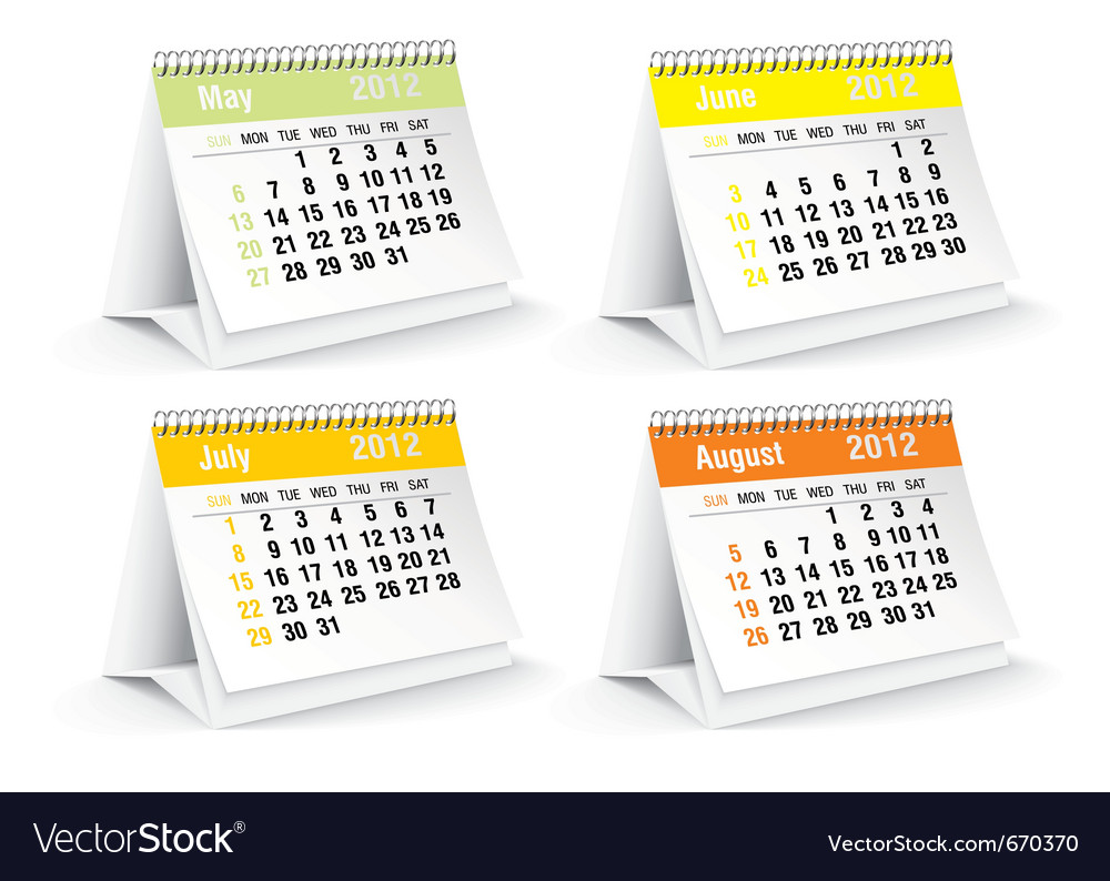 May to august calendars vector | Price: 1 Credit (USD $1)