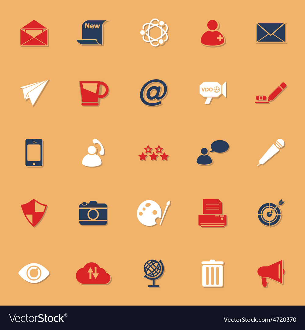 Message and email classic color icons with shadow vector | Price: 1 Credit (USD $1)