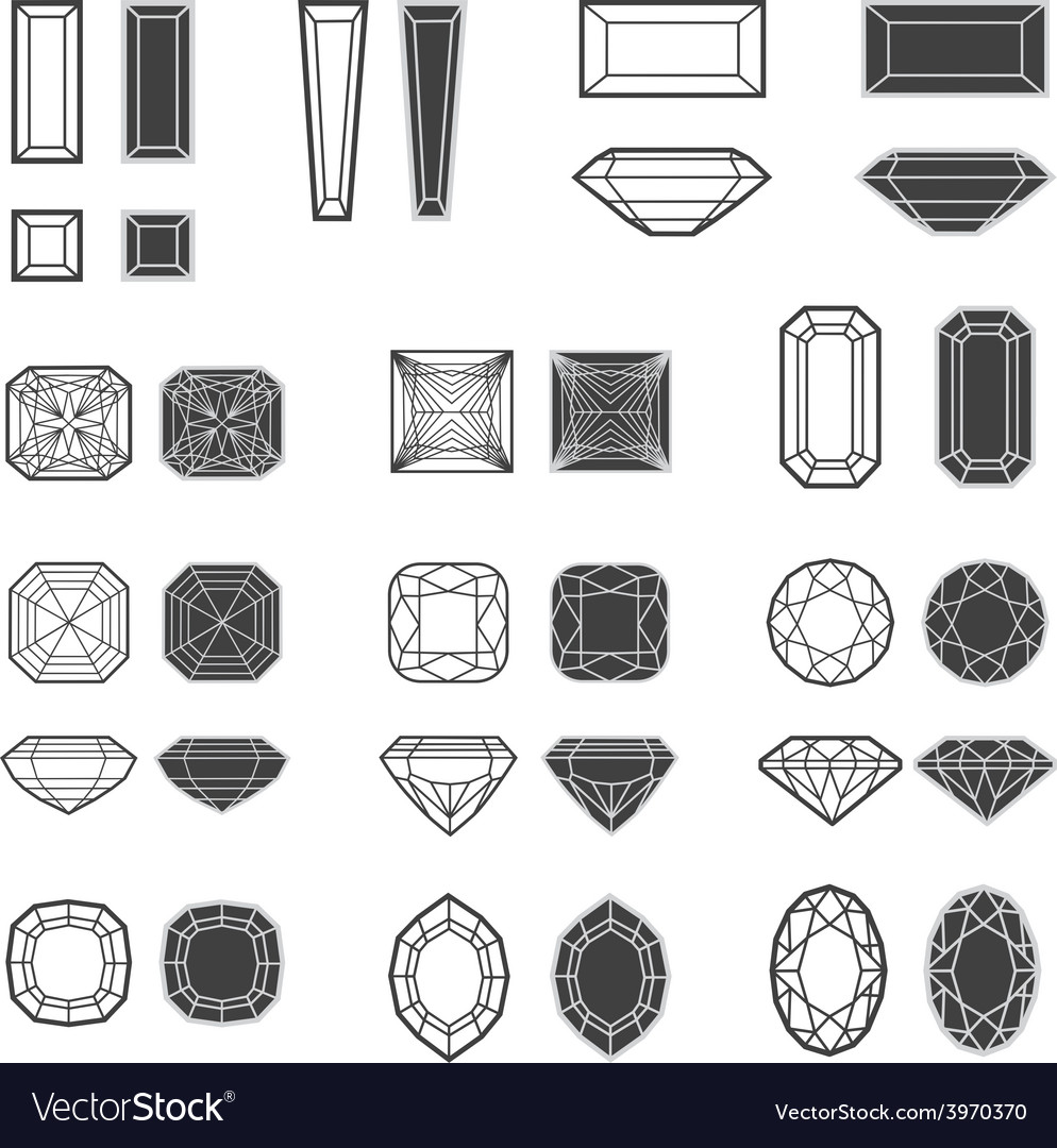 New diamonds set 02 vector | Price: 1 Credit (USD $1)