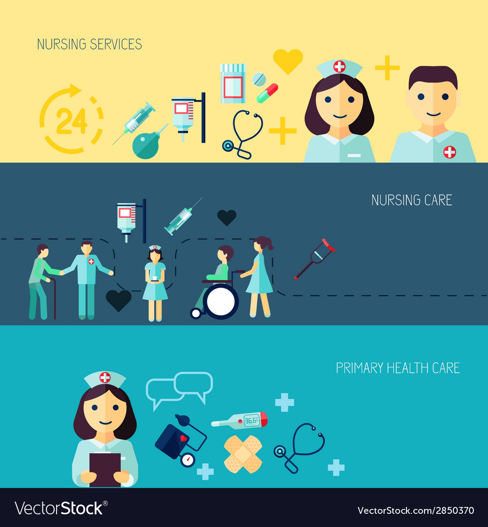 Nurse icon banner set vector | Price: 1 Credit (USD $1)