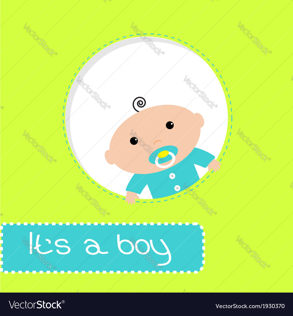 Peek-a-boo baby shower card its a boy vector | Price: 1 Credit (USD $1)