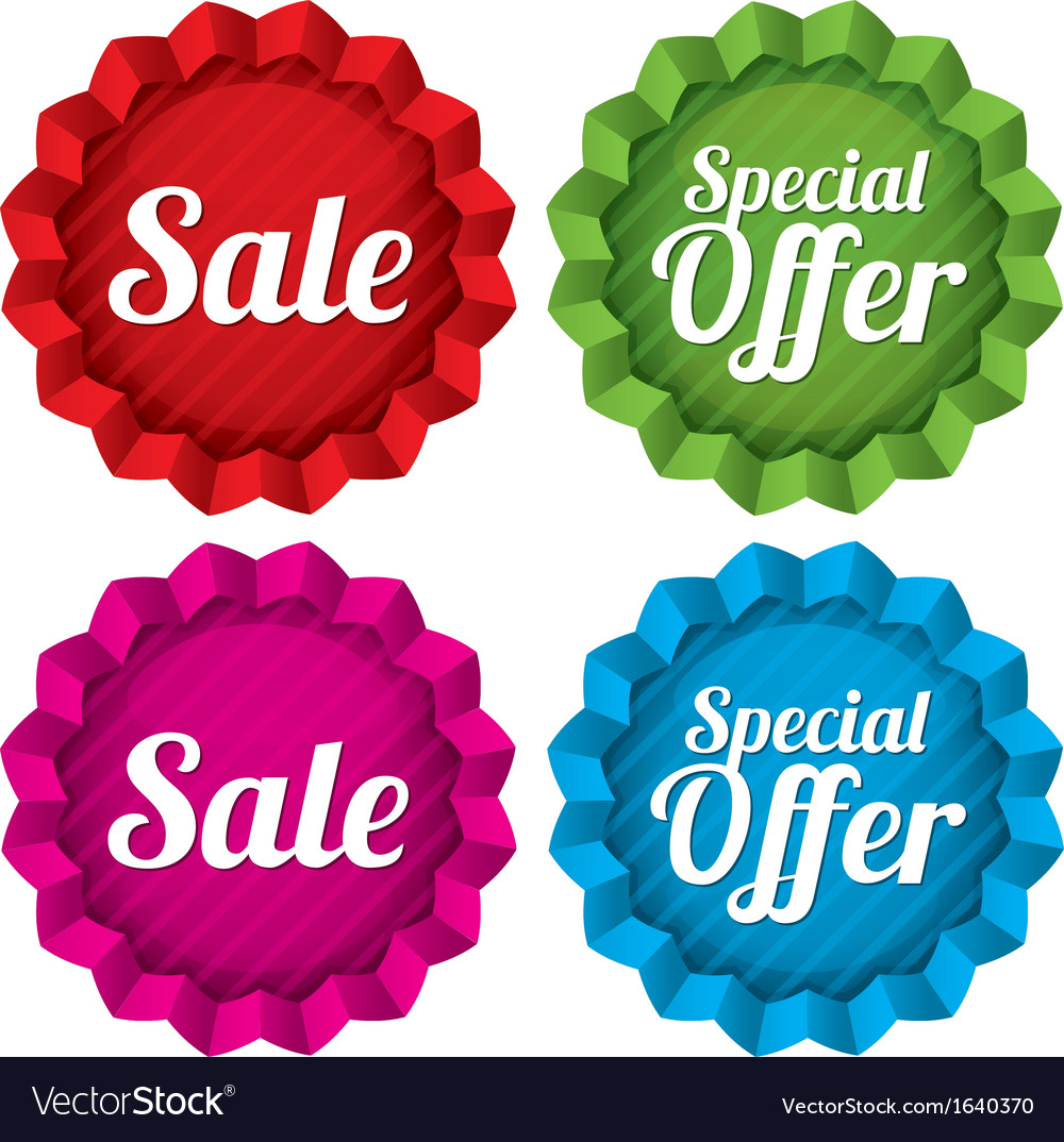 Sale and special offer price tags set vector | Price: 1 Credit (USD $1)