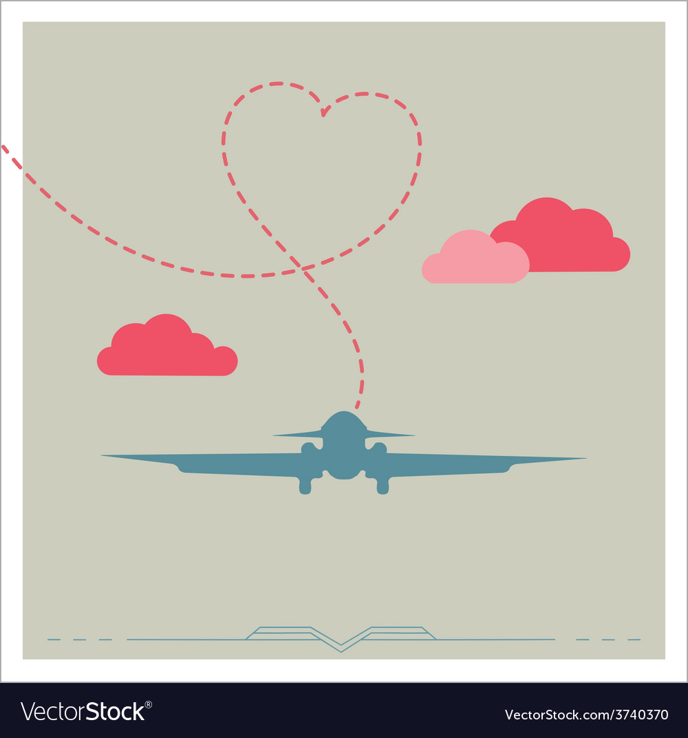 Silhouette of a plane with heart vector | Price: 1 Credit (USD $1)