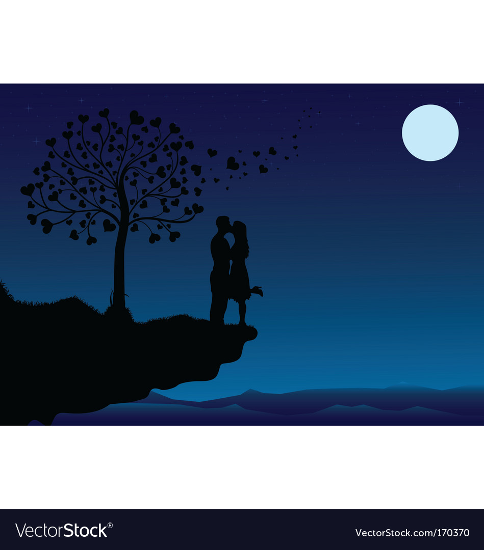 Sunset kissing vector | Price: 1 Credit (USD $1)