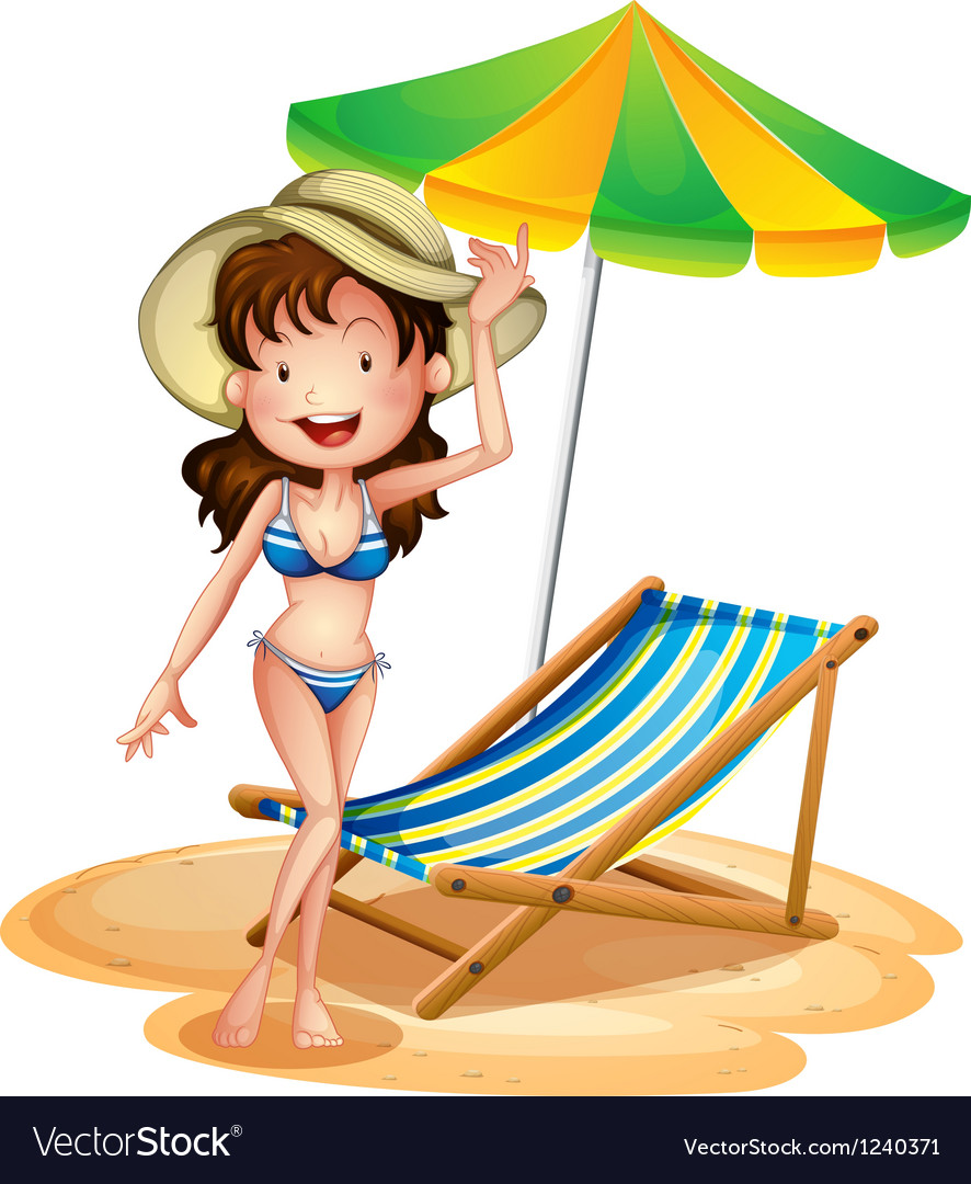A girl near a foldable beach bed and umbrella vector | Price: 1 Credit (USD $1)