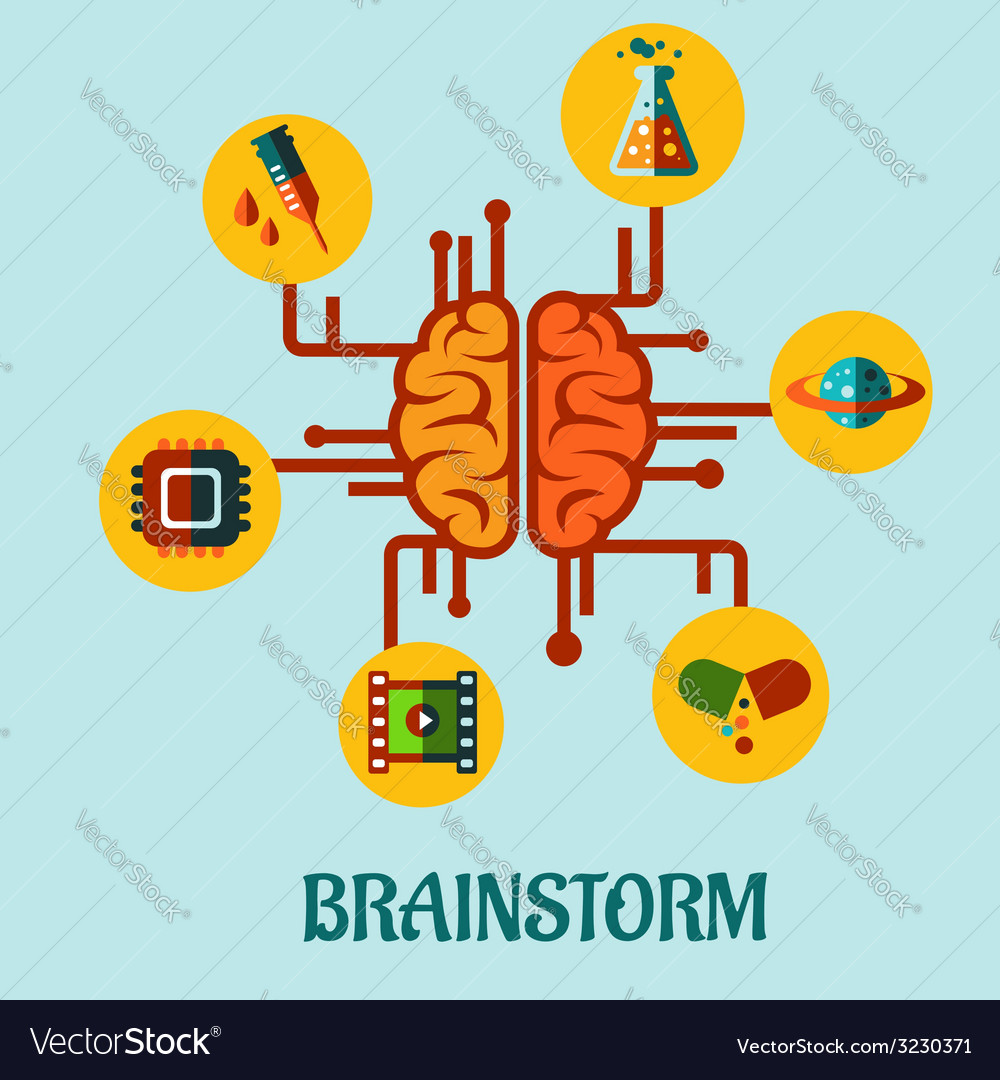 Creative brainstorming flat concept design vector | Price: 1 Credit (USD $1)