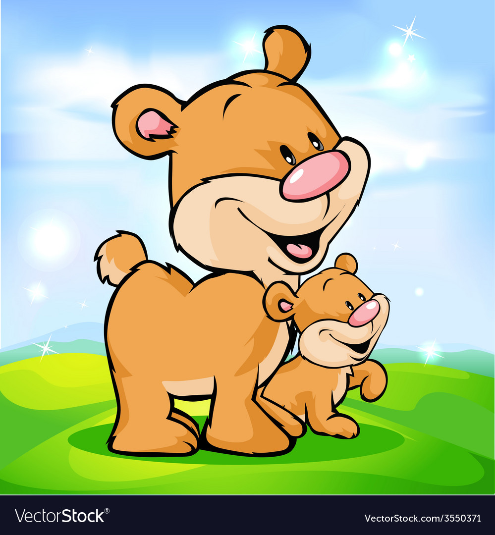 Cute bear family on green meadow vector | Price: 1 Credit (USD $1)