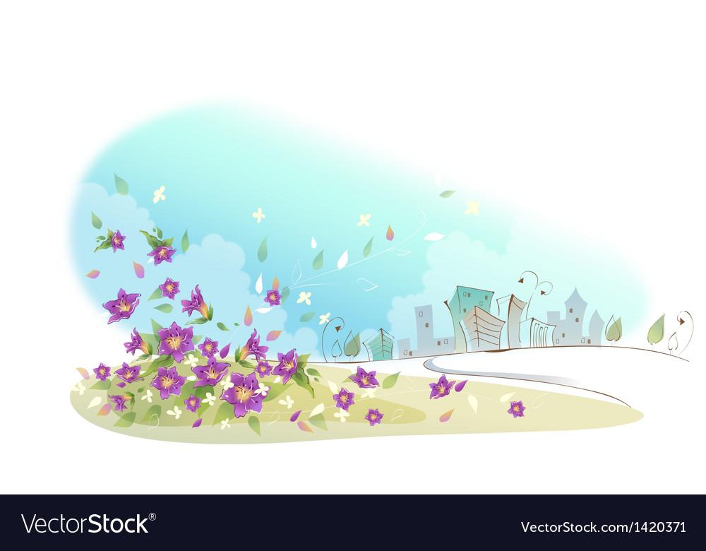 Flowers near city vector   Price: 1 Credit (USD $1)