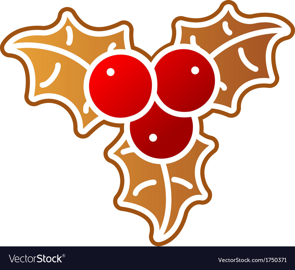Gingerbread holly berry vector   Price: 1 Credit (USD $1)
