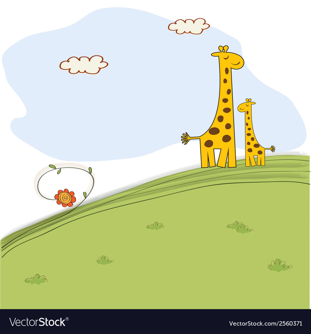 Giraffe and her baby in nature vector | Price: 1 Credit (USD $1)
