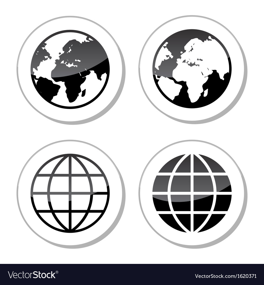 Globe earth icons as labels vector | Price: 1 Credit (USD $1)