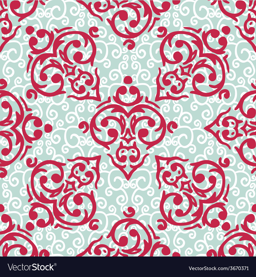 Seamless baroque damask luxury background vector | Price: 1 Credit (USD $1)