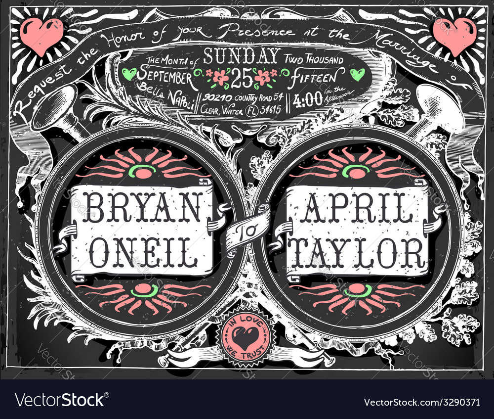 Vintage wedding invite on blackboard vector | Price: 3 Credit (USD $3)