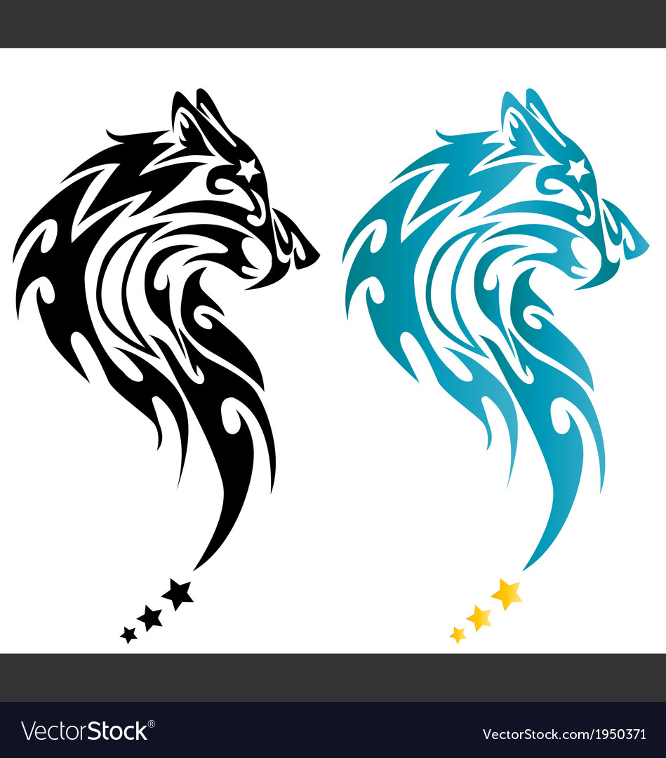 Wolf head tattoo with stars vector | Price: 1 Credit (USD $1)