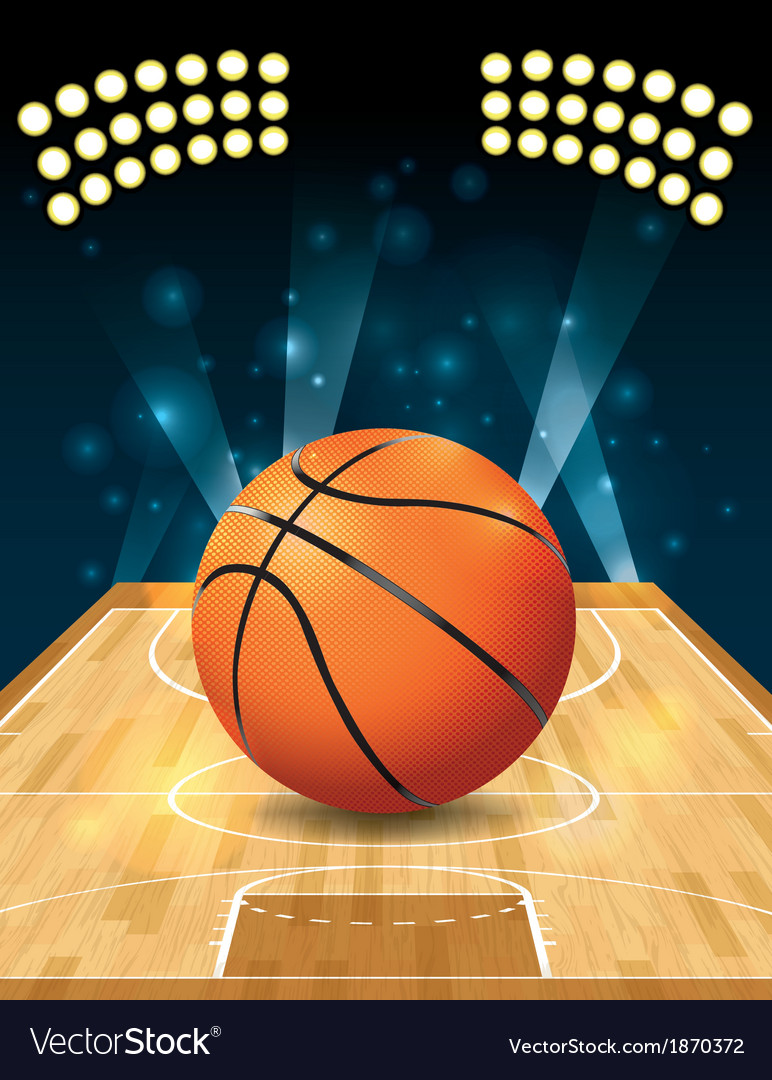 Basketball on hardwood court vector | Price: 1 Credit (USD $1)