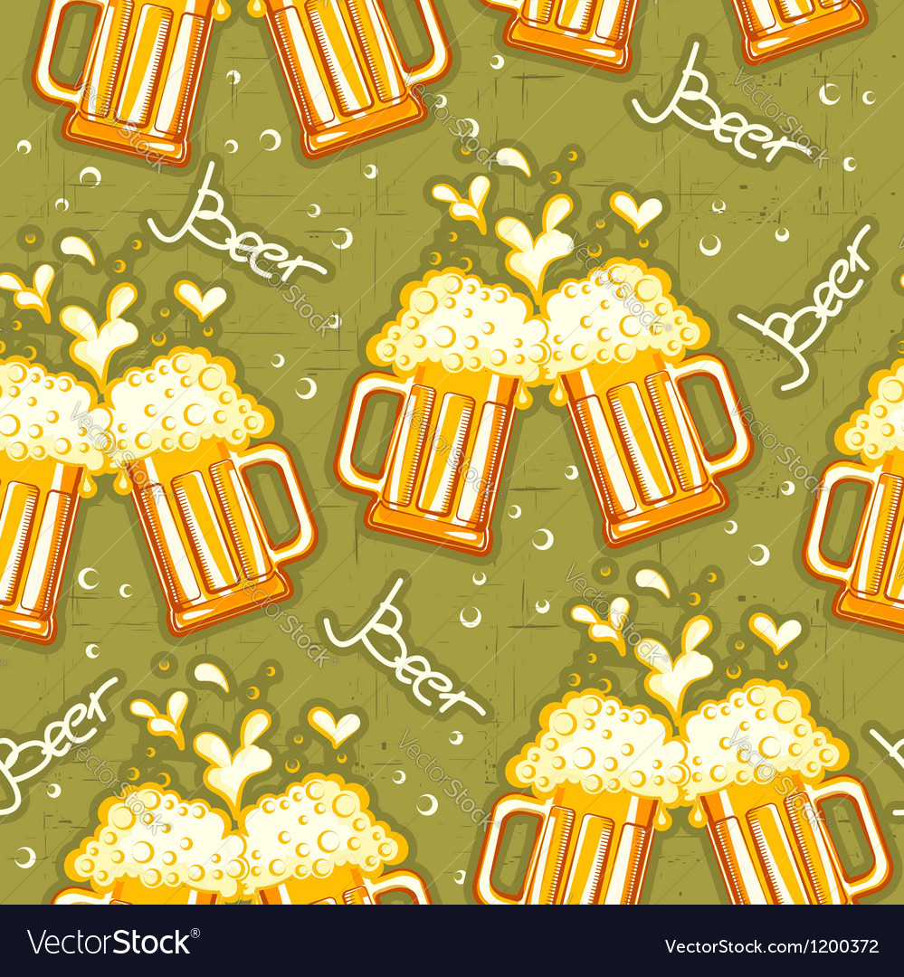 Beer seamless pattern glasses of beer background vector | Price: 3 Credit (USD $3)