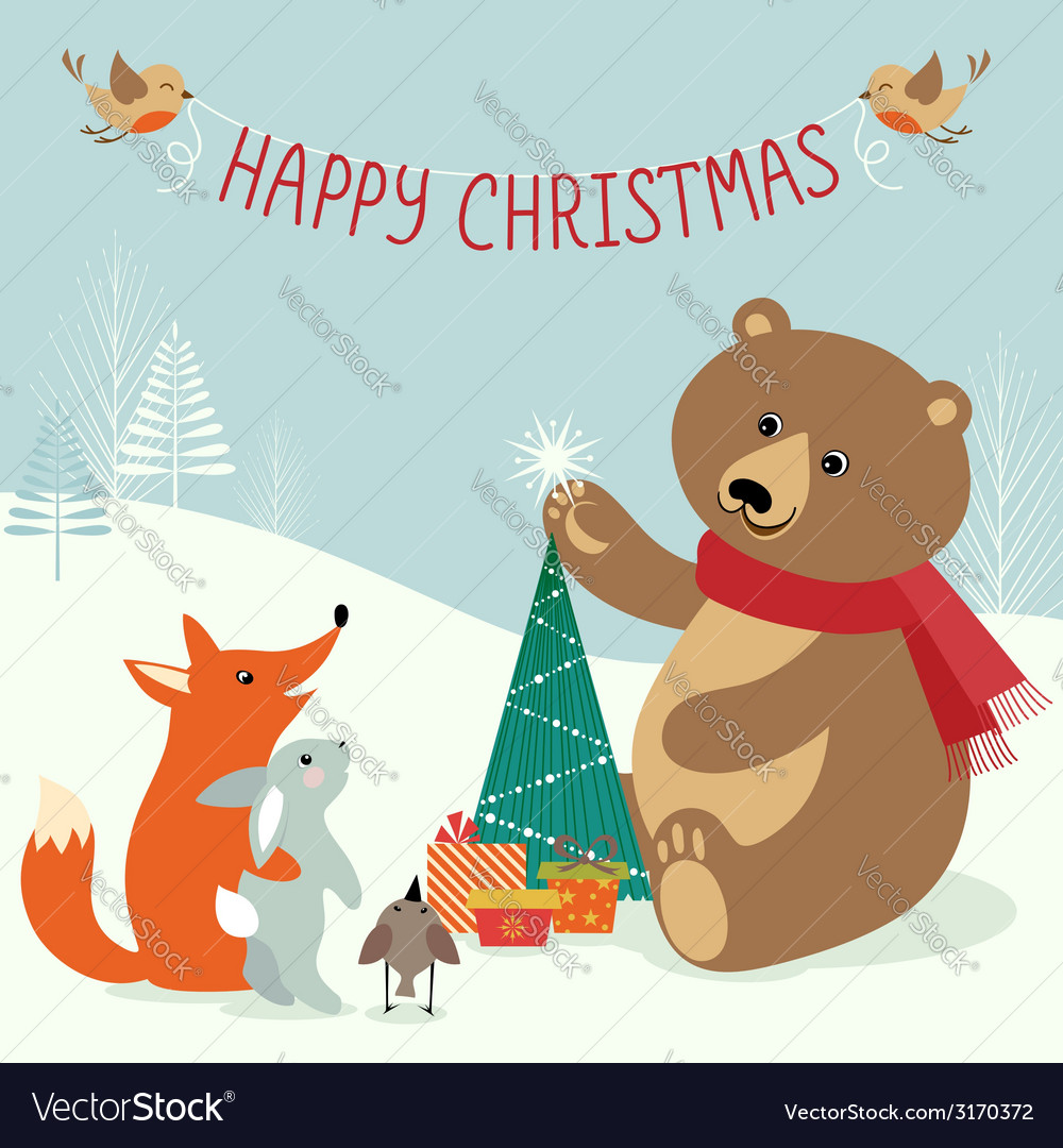 Christmas woodland vector | Price: 1 Credit (USD $1)