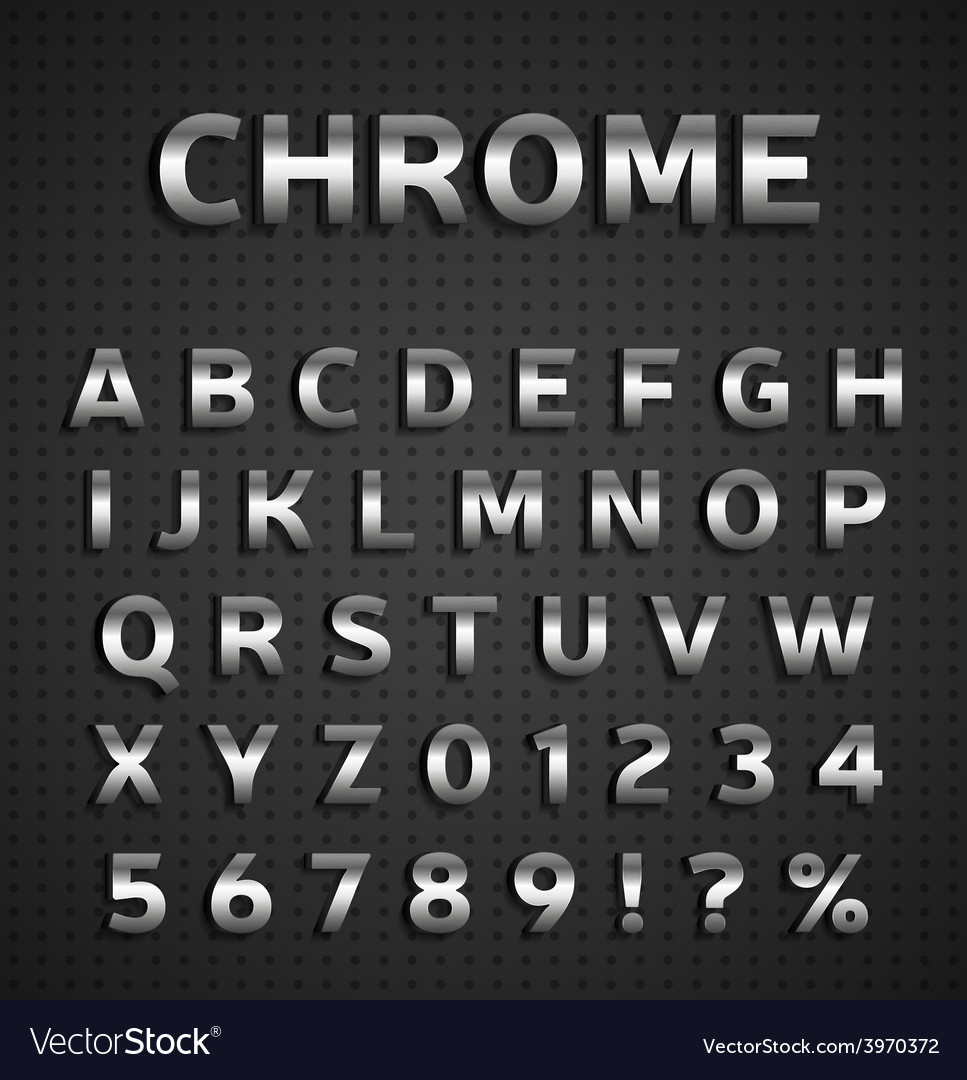 Chrome alphabet set vector | Price: 1 Credit (USD $1)