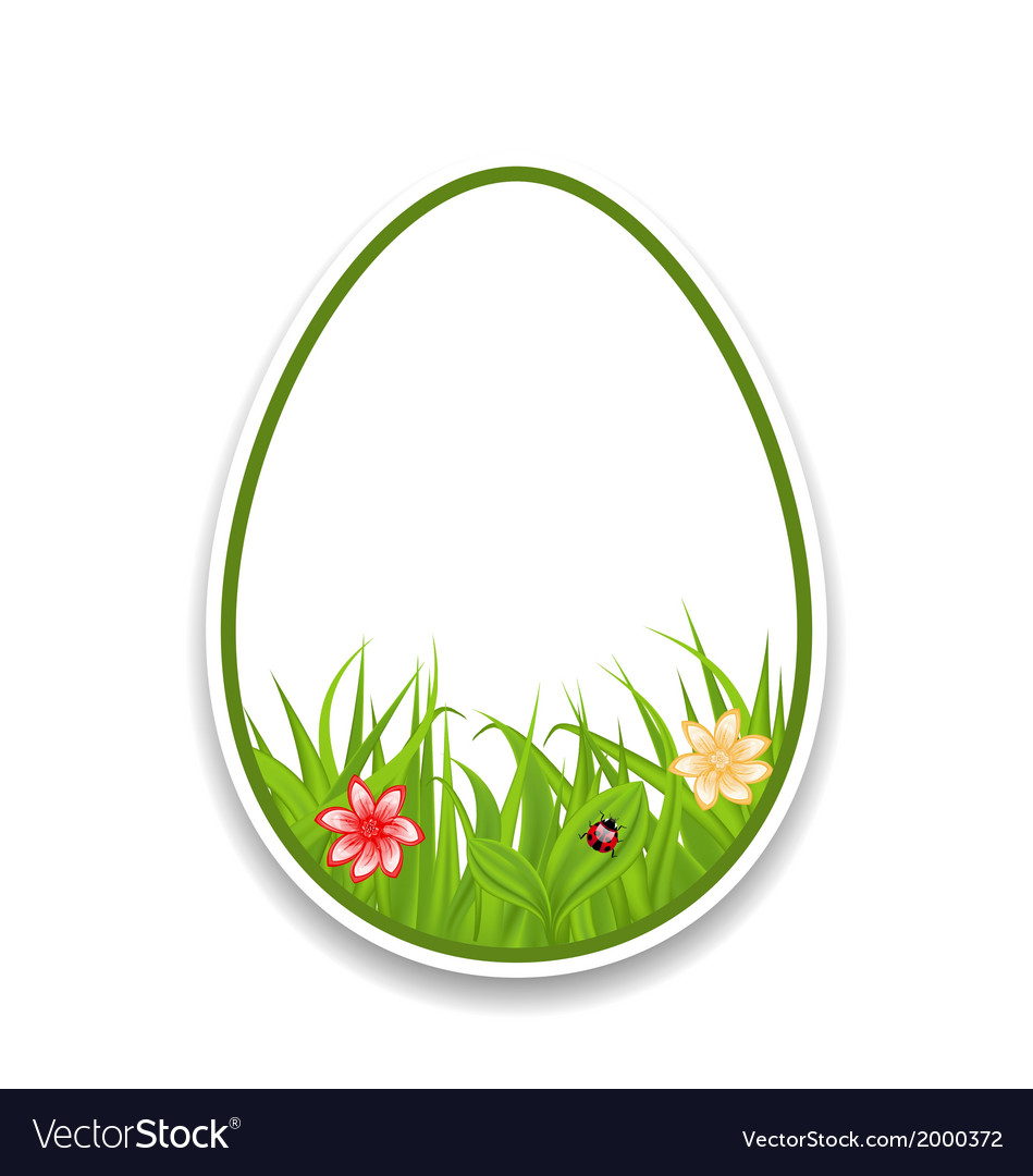 Easter paper sticker eggs with green grass and vector | Price: 1 Credit (USD $1)