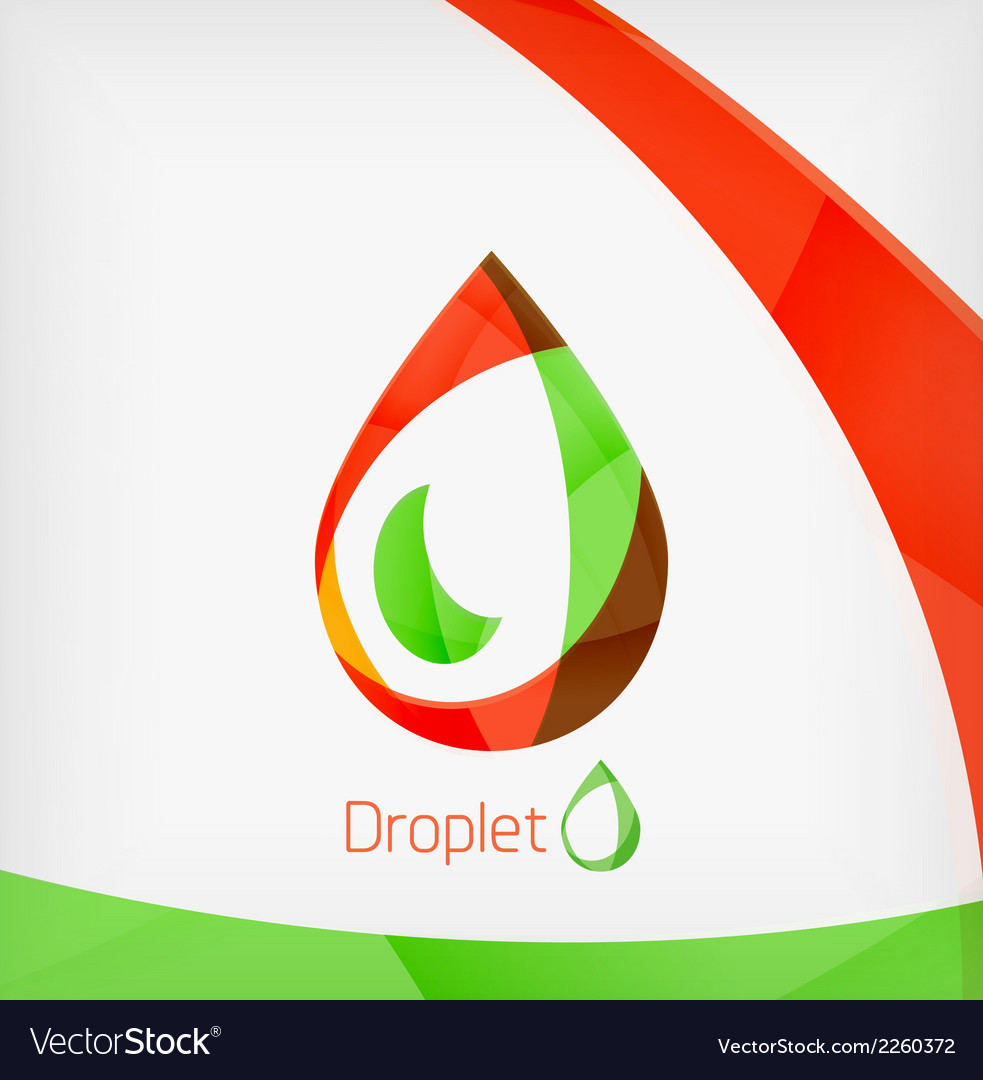 Flat water drop geometric shape concept vector | Price: 1 Credit (USD $1)