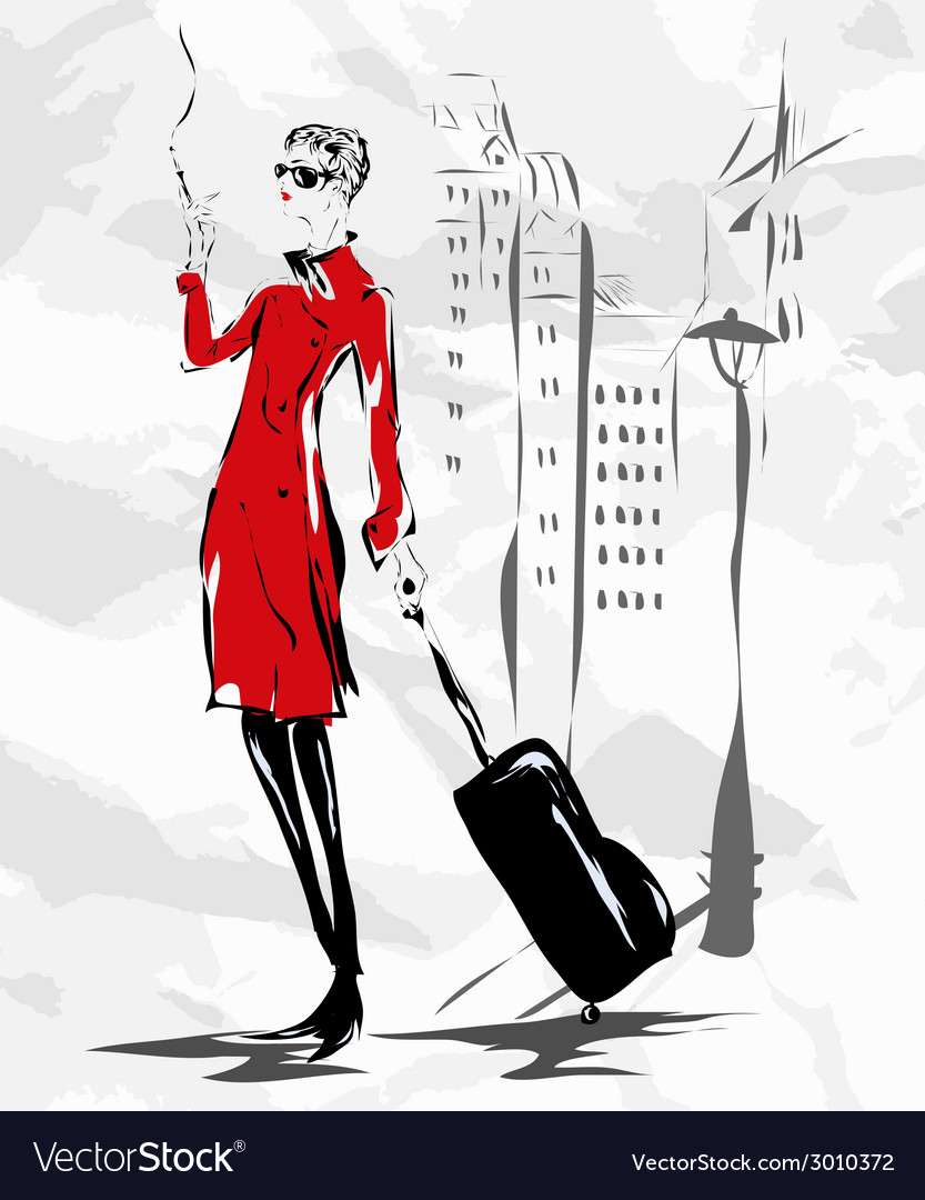 The girl in a red coat goes down the street vector | Price: 1 Credit (USD $1)