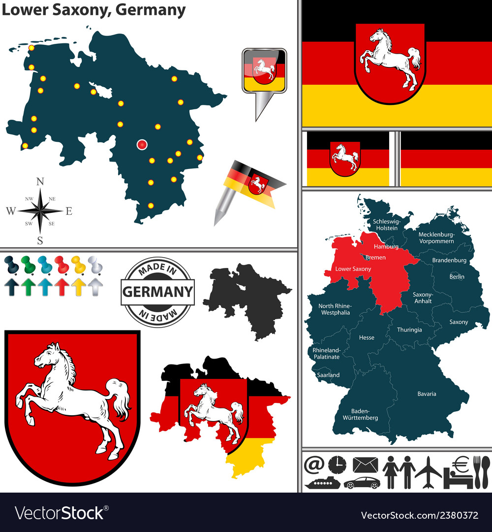 Map of lower saxony vector | Price: 1 Credit (USD $1)