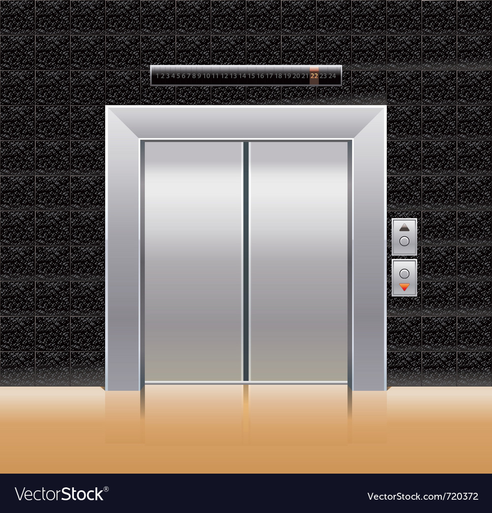 Passenger elevator with closed doors vector | Price: 1 Credit (USD $1)
