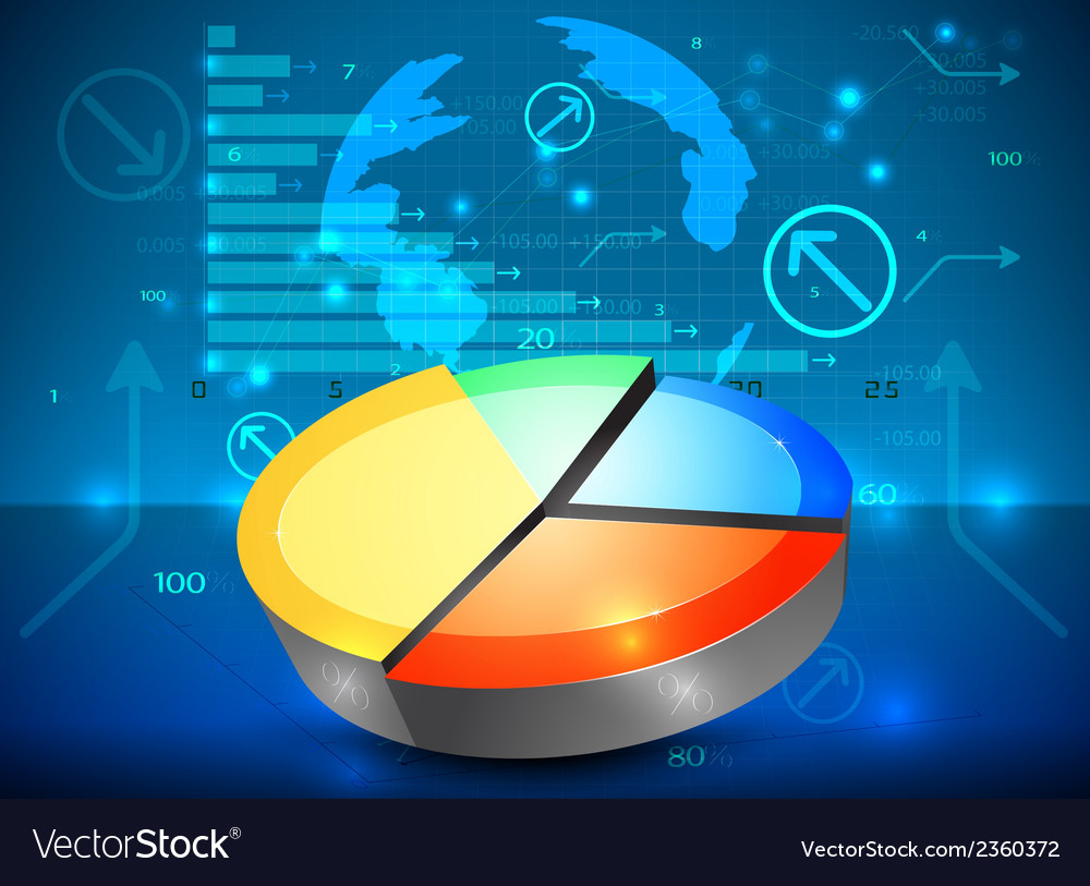 Pie chart on the rise business graph background vector | Price: 1 Credit (USD $1)