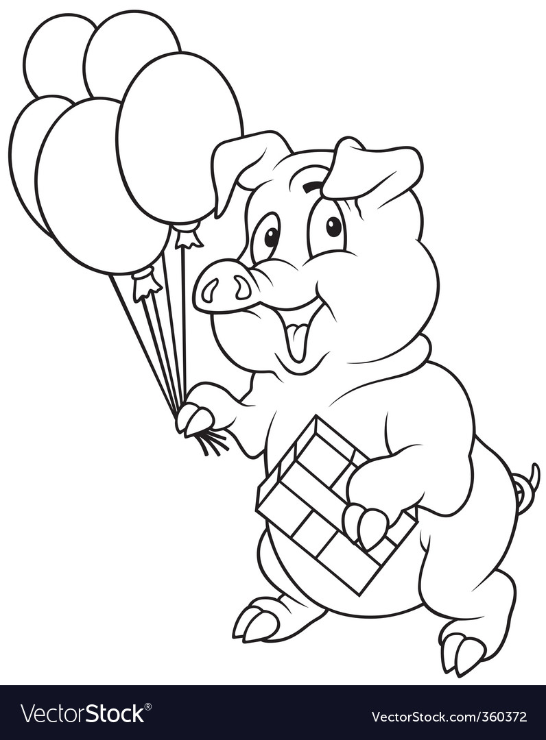 Piglet and balloons vector | Price: 1 Credit (USD $1)