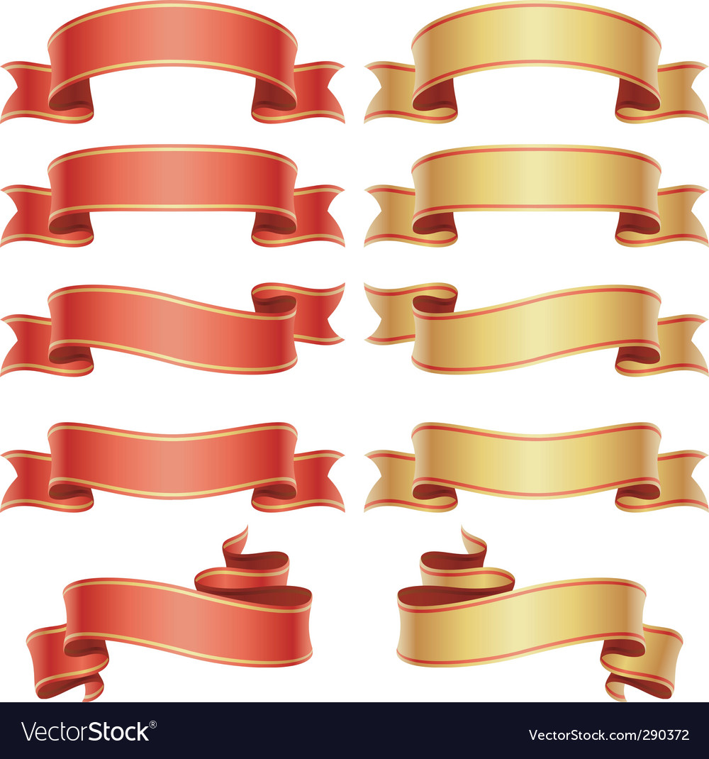 Red and golden banners set vector