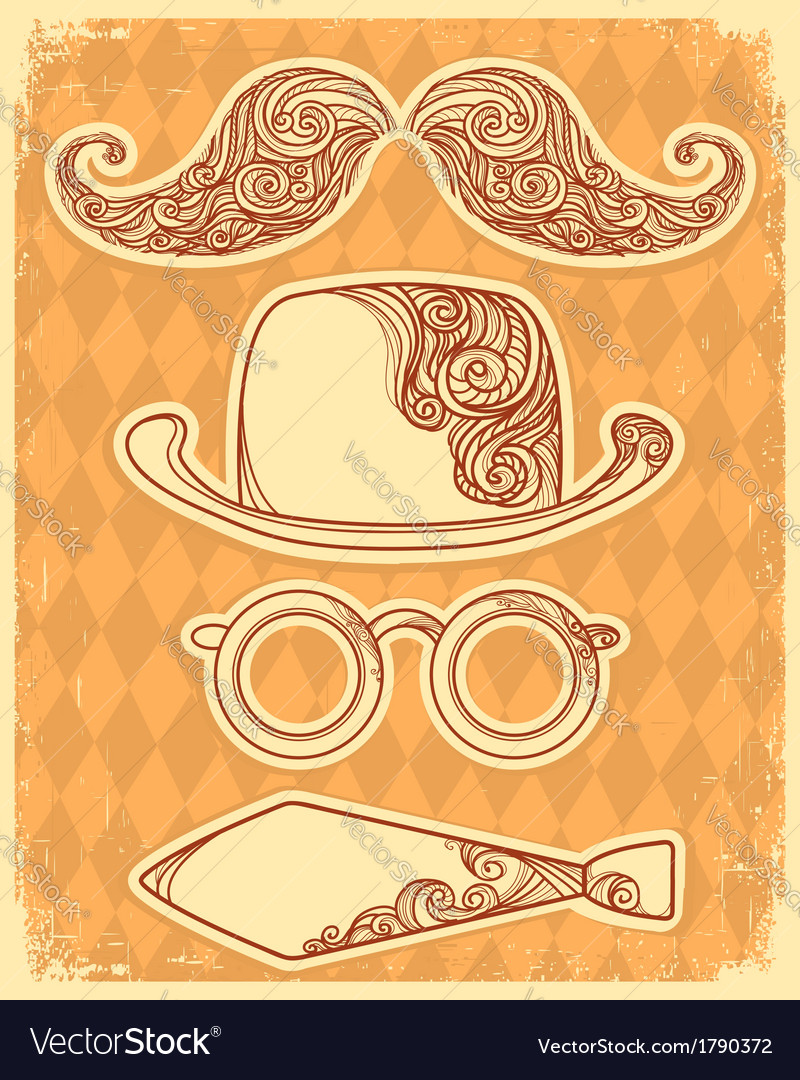 Retro party objects with moustaches vintage on old vector | Price: 1 Credit (USD $1)