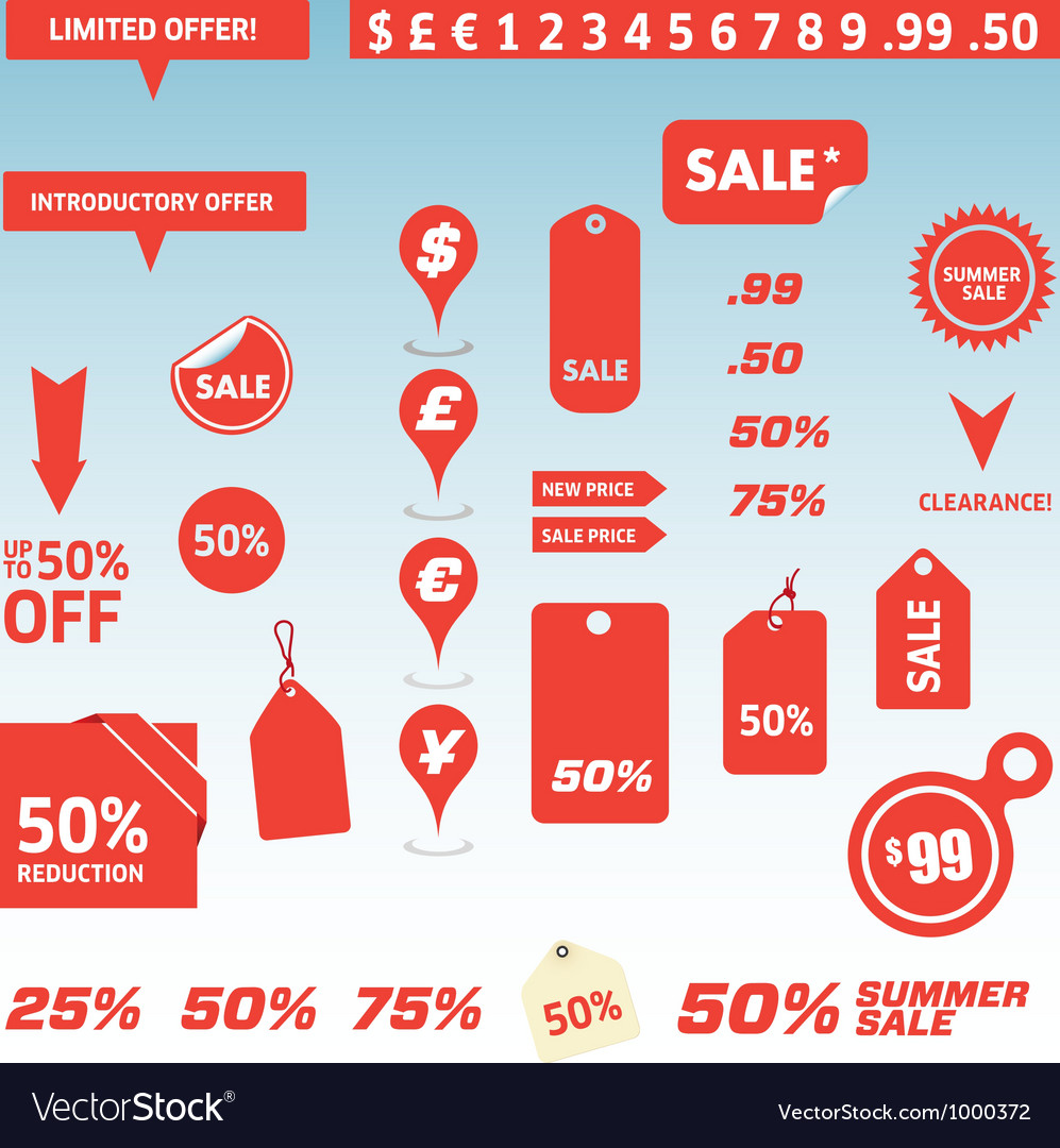 Sale tags and price labels vector | Price: 1 Credit (USD $1)