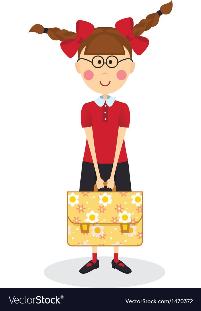 Schoolgirl with briefcase vector | Price: 3 Credit (USD $3)
