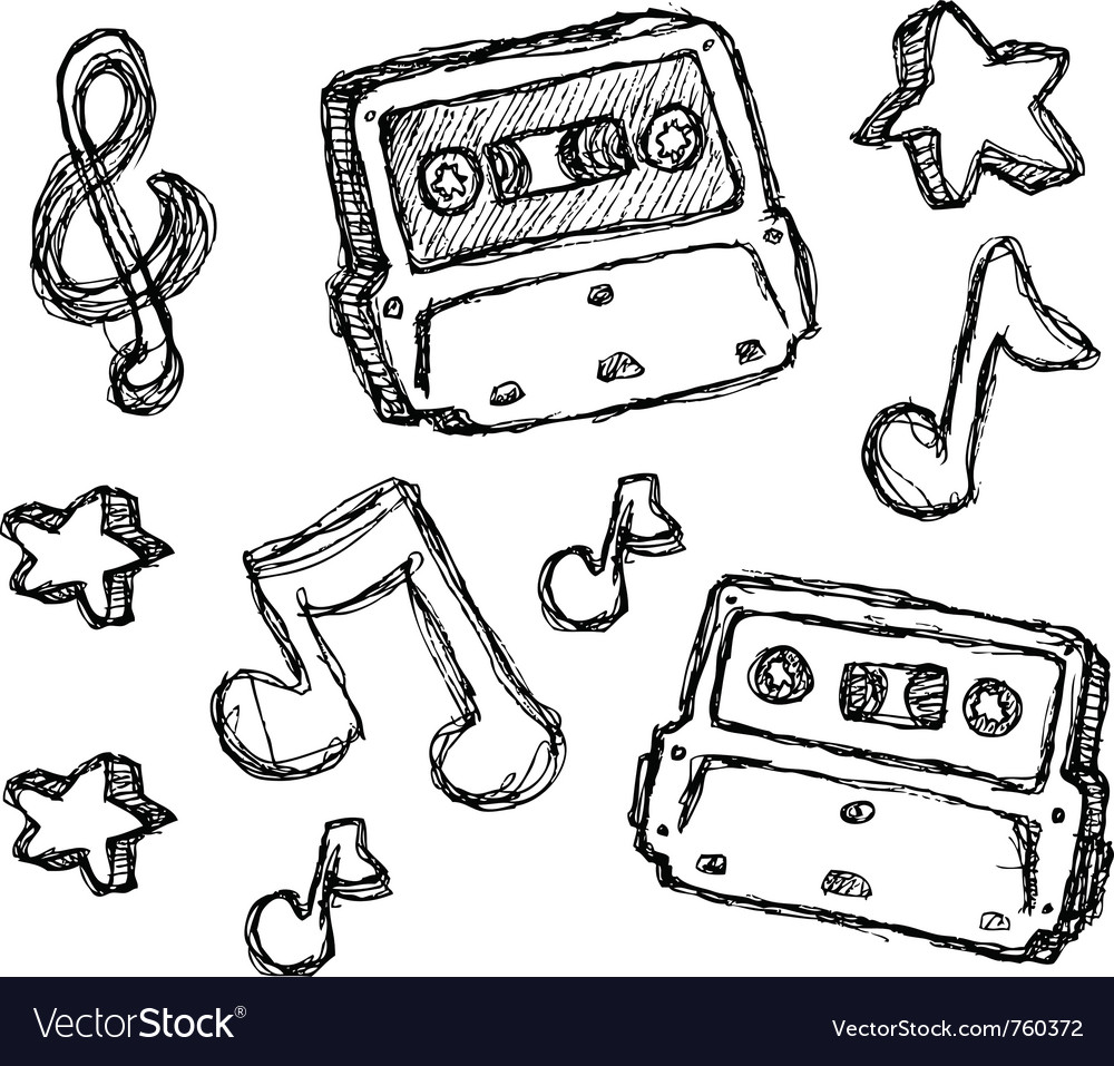 Scribble series - cassette vector | Price: 1 Credit (USD $1)