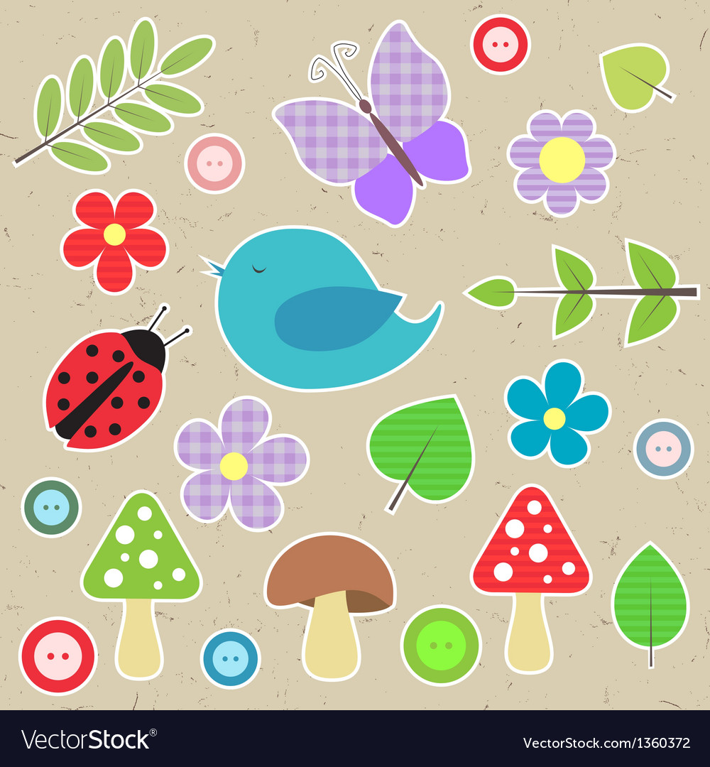 Set of scrapbook elements - animals nature buttons vector | Price: 1 Credit (USD $1)