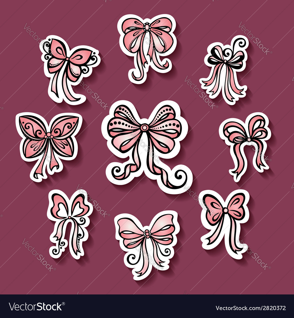 Set of stickers with ornamental holiday bows vector | Price: 1 Credit (USD $1)