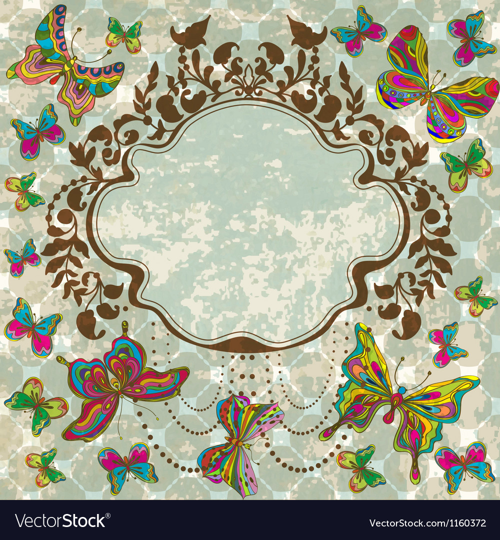 Vintage floral ornament with butterflies vector | Price: 1 Credit (USD $1)