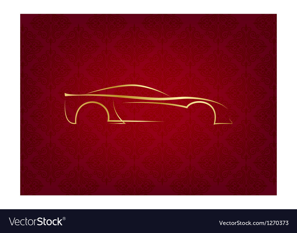 Abstract calligraphic car logo on red background vector | Price: 1 Credit (USD $1)
