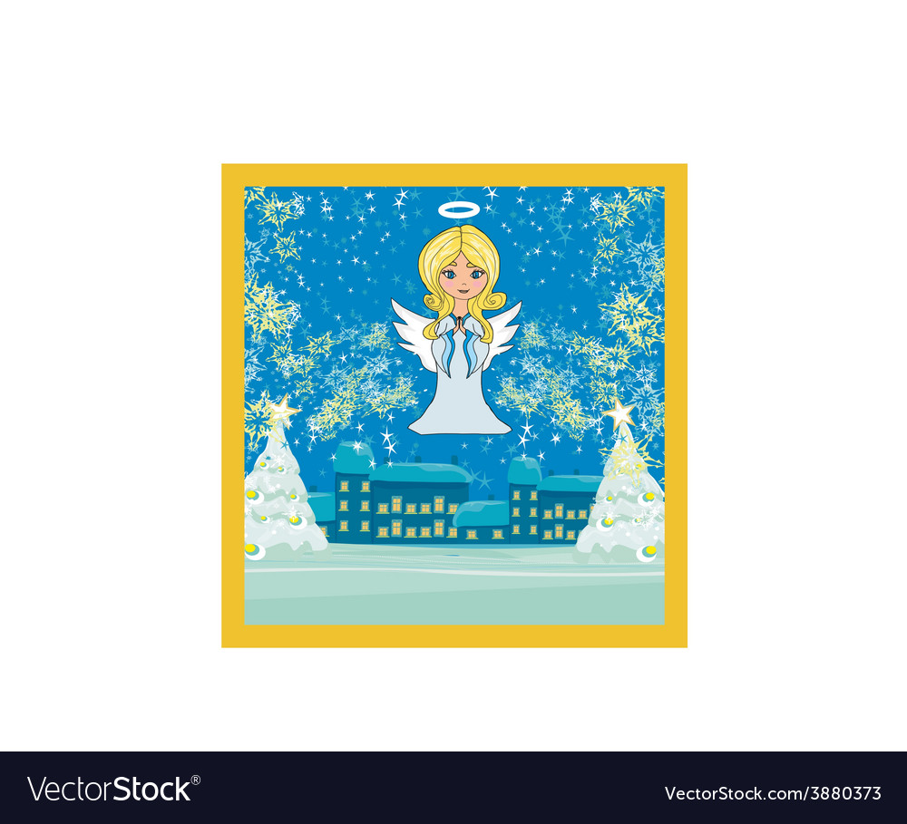 Abstract christmas card with angel vector | Price: 1 Credit (USD $1)