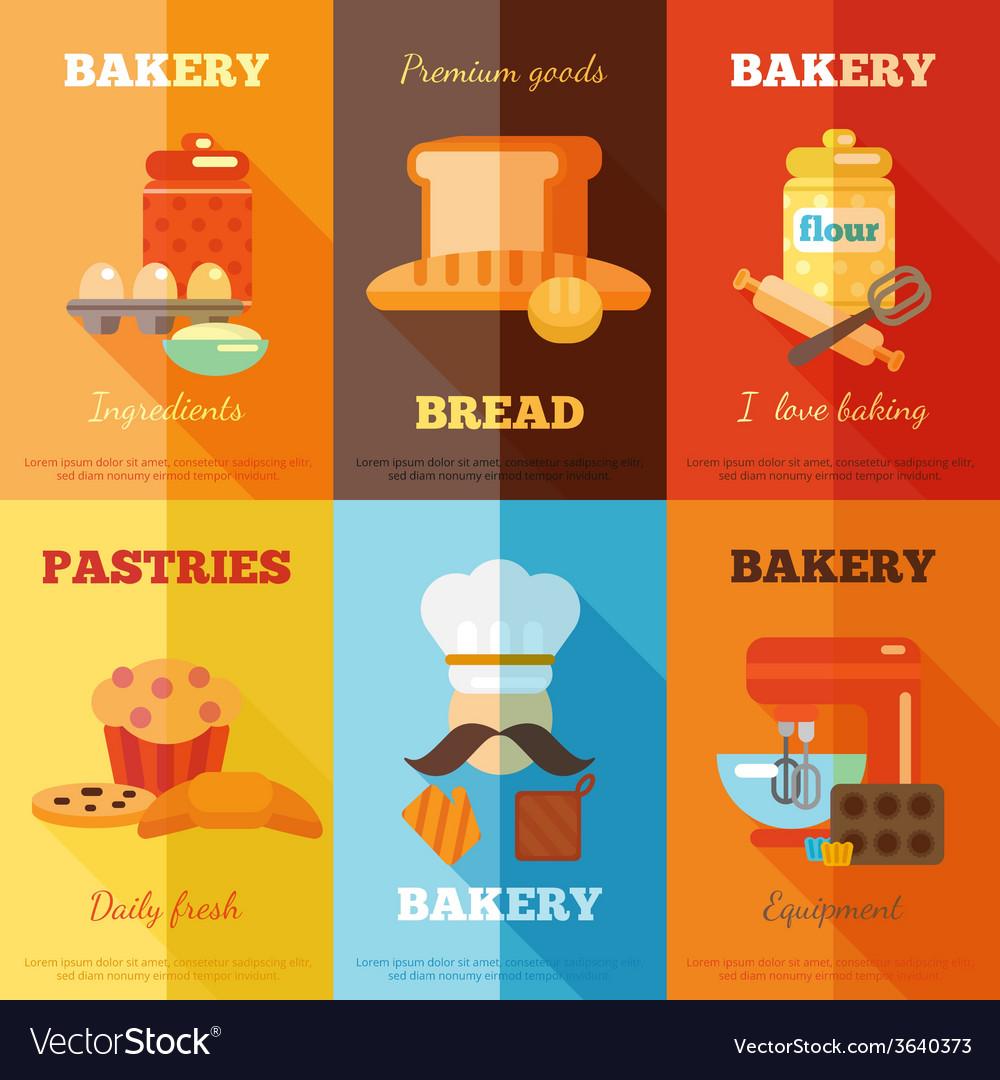 Bakery mini poster set vector | Price: 1 Credit (USD $1)