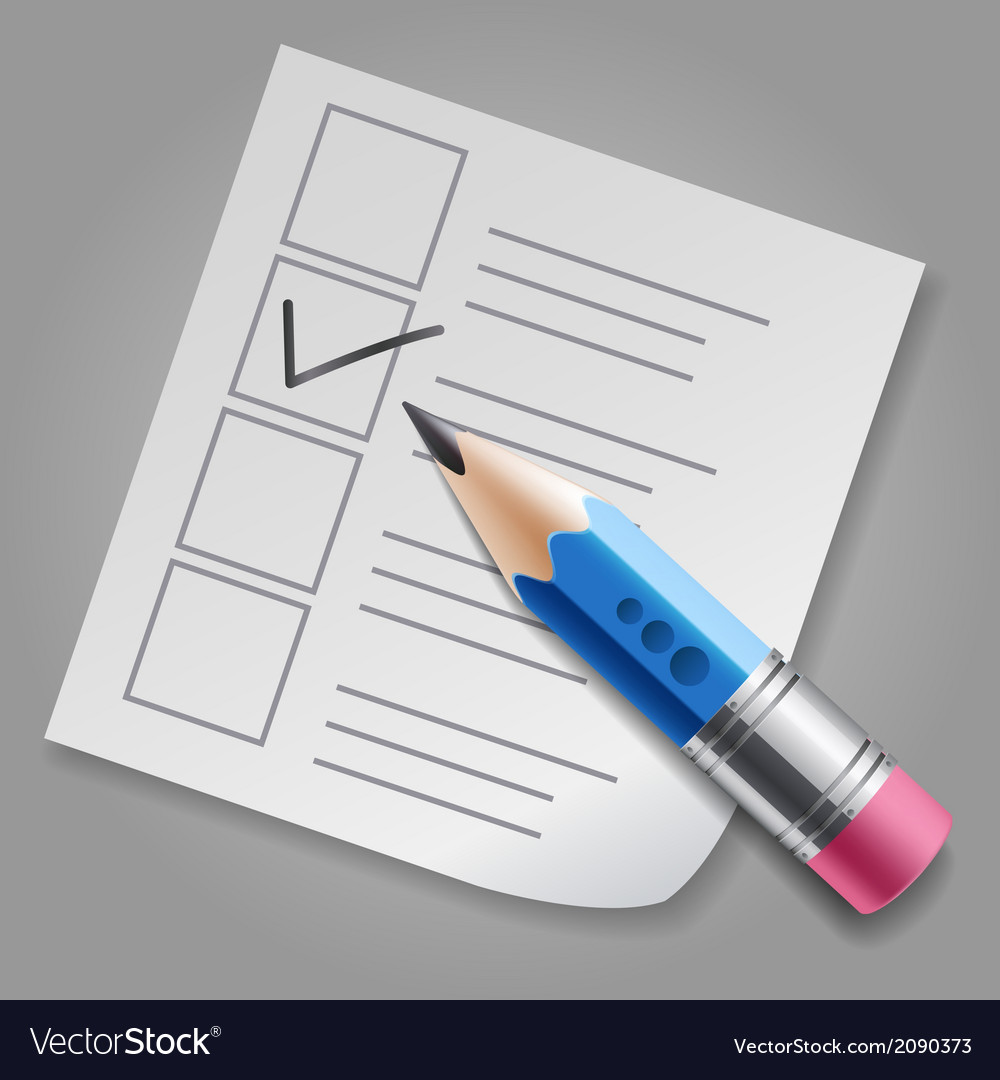 Blue pencil and checklist vector | Price: 1 Credit (USD $1)