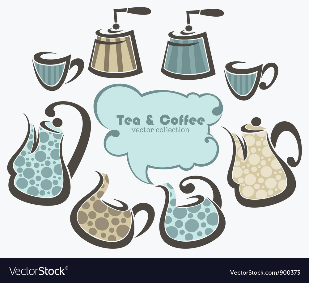 Coffee and tea collection vector | Price: 1 Credit (USD $1)