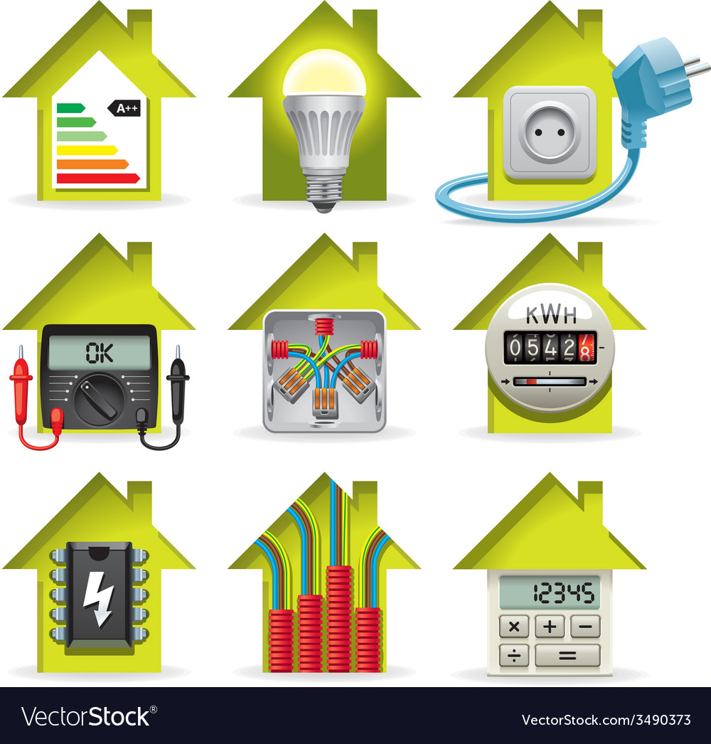 Electricity home icons vector | Price: 3 Credit (USD $3)