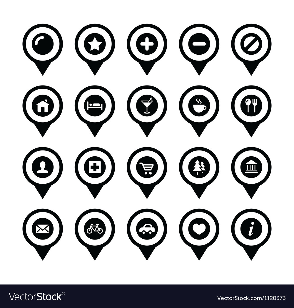 Map location markers pointers icons set vector | Price: 1 Credit (USD $1)