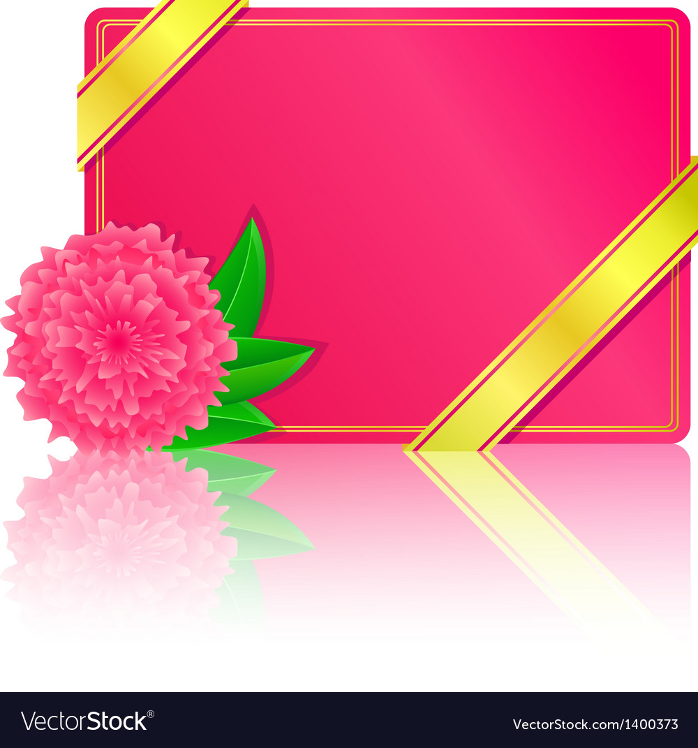 Pink card with flower and leaf vector | Price: 1 Credit (USD $1)