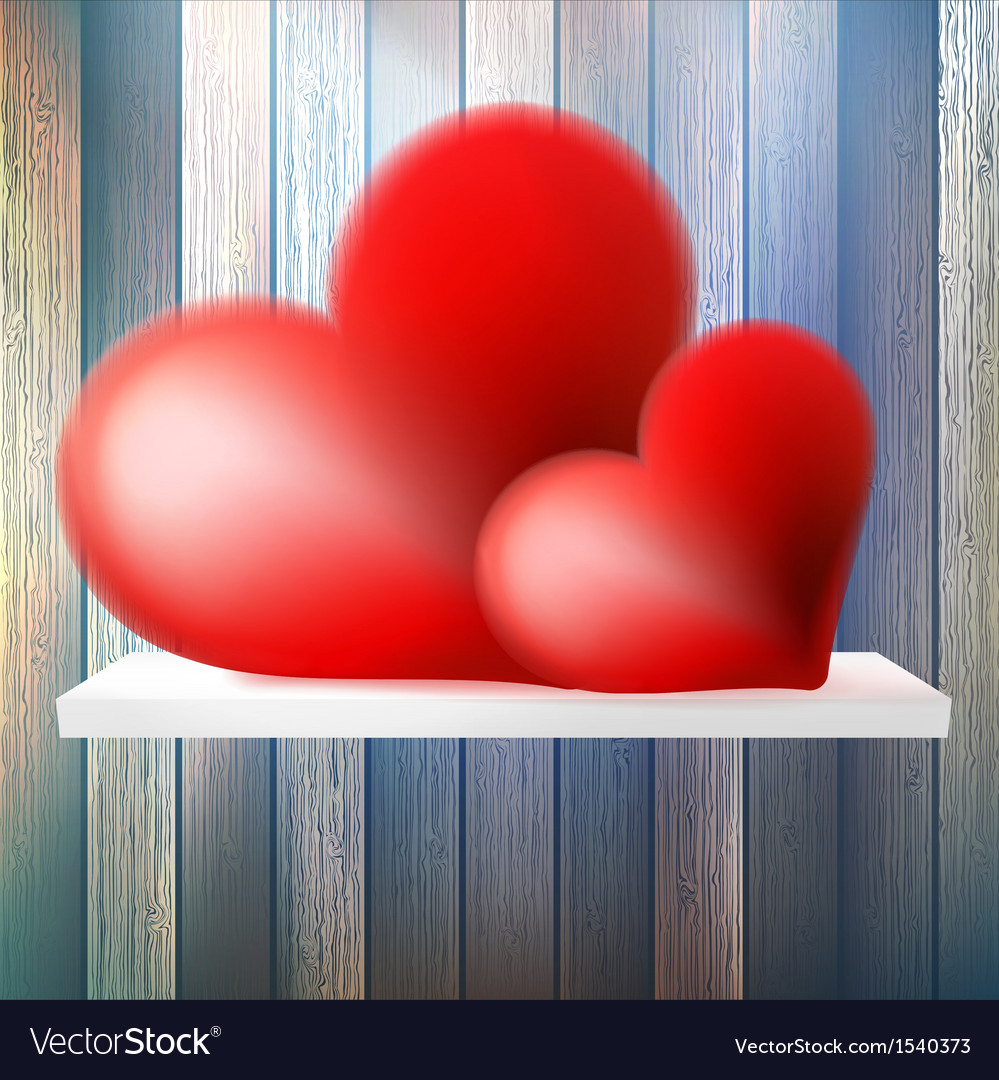 Romantic background with hearts on wood shelf vector | Price: 1 Credit (USD $1)