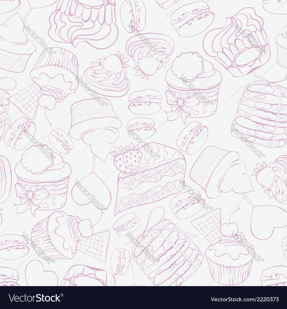 Seamless sweet cupcake party background pattern vector | Price: 1 Credit (USD $1)