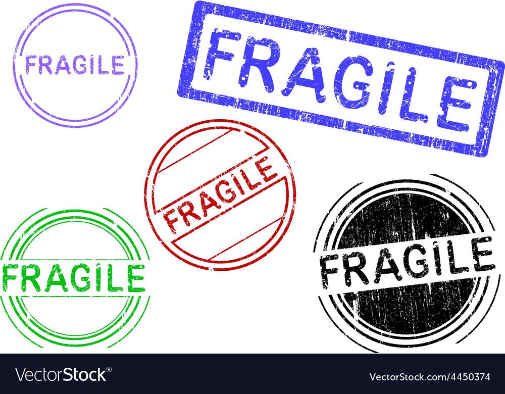 5 grunge stamps fragile vector | Price: 1 Credit (USD $1)