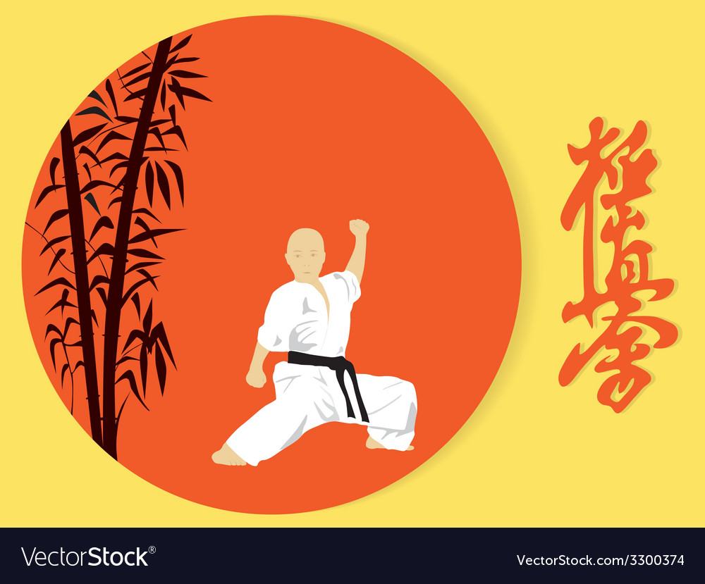A boy engaged in karate on a red background vector | Price: 1 Credit (USD $1)