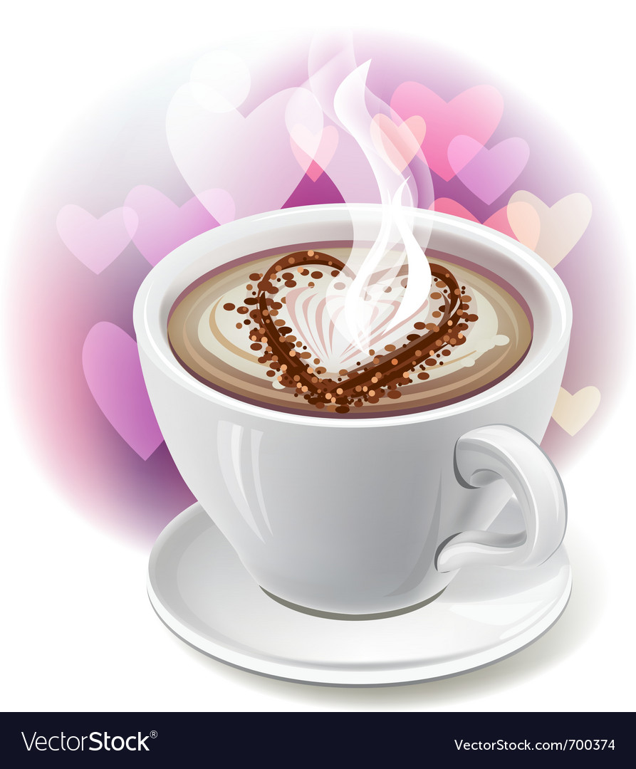 A cup of coffee with heart-shaped decoration vector | Price: 1 Credit (USD $1)